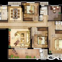 月港官邸D6户型,四房两厅两卫,建筑面积约115㎡.png