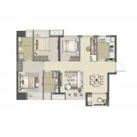 首创禧瑞风华93平4房户型图